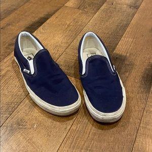 Dark Blue Vans Slip Ons